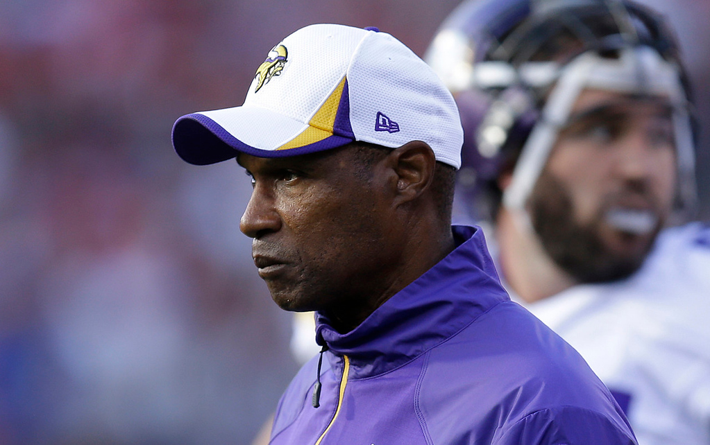 . Vikings head coach Leslie Frazier watches his team struggle during the second quarter against the 49ers. (AP Photo/Ben Margot)