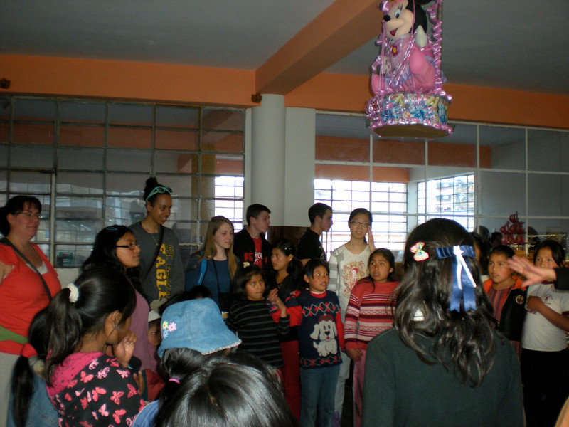 Pinata party at the Cuzco Orphanage in Peru sponsored by Lutheran West students.  Lutheran West's student body raised $1,200 for this orphanage. This Spring 2011 trip was led by Lynn Pangrace and Kathie Courtney.
