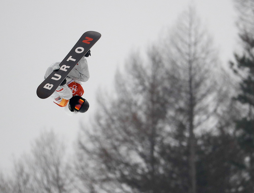 . Shaun White, of the United States, jumps during the men\'s halfpipe finals at Phoenix Snow Park at the 2018 Winter Olympics in Pyeongchang, South Korea, Wednesday, Feb. 14, 2018. (AP Photo/Lee Jin-man)