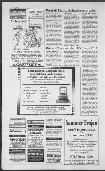Daily Trojan, Vol. 127, No. 58, April 15, 1996