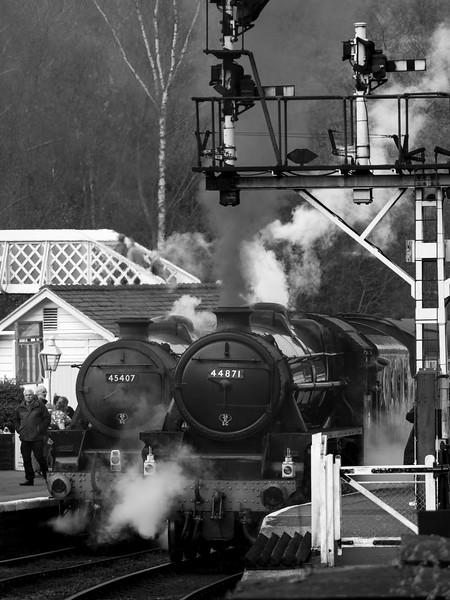 vintage steam locomotive 44871 LMS at Grosmont station,on The North Yorkshire Moors Railway,Yorkshire,UK.taken 12/04/2015
