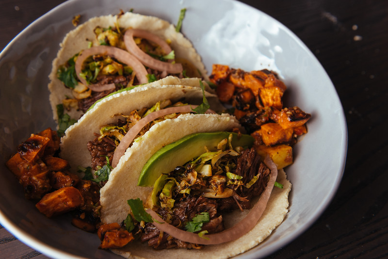 Shredded Beef Tacos with Pickled Onions + Sweet Potatoes