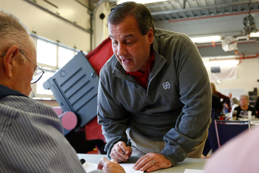 . New Jersey Gov. Chris Christie prepares to cast his vote in the midterm elections November 4, 2014 at the Emergency Services Building in Mendham Twp., New Jersey. All 12 of N.J.\'s House seats are up for grabs today.  (Photo by Jeff Zelevansky/Getty Images)