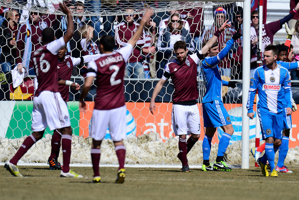 . COMMERCE CITY, CO - MARCH 10: Colorado Rapids and Philadelphia Union players call for possession during the first half of action. The Colorado Rapids play the Philadelphia Union at Dick\'s Sporting Goods Park. (Photo By AAron Ontiveroz/The Denver Post)
