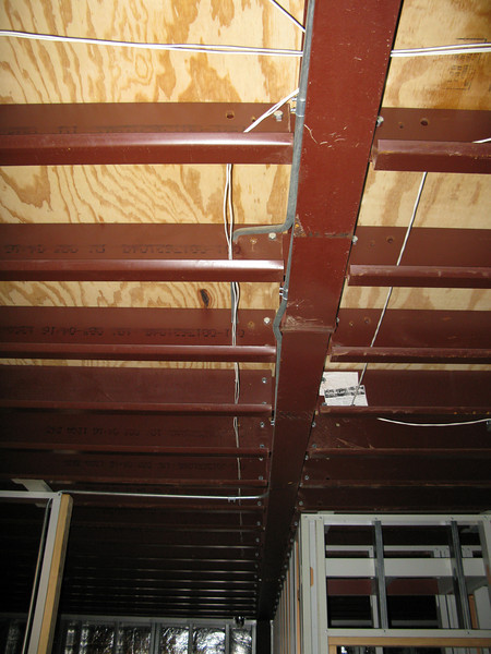 In-ceiling wiring in living room. Facing east into dining room.