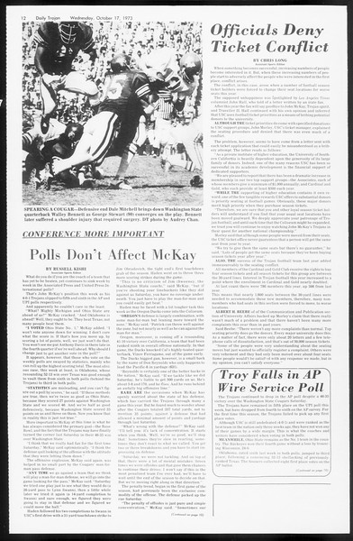 Daily Trojan, Vol. 66, No. 22, October 17, 1973