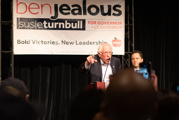 'Ben Jealous for Governor' with Bernie Sanders in Bethesda, MD on October 30, 2018