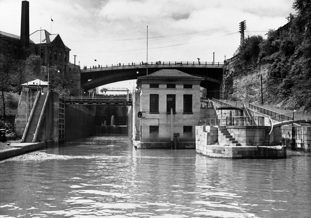 . The new Erie Canal powerhouse at Lockport, N.Y., seen June 1947.  (AP Photo)