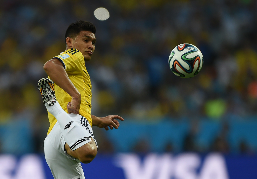. Colombia\'s forward Teofilo Gutierrez controls the ball  during the Round of 16 football match between Colombia and Uruguay at the Maracana Stadium in Rio de Janeiro during the 2014 FIFA World Cup in Brazil on June 28, 2014. EITAN ABRAMOVICH/AFP/Getty Images
