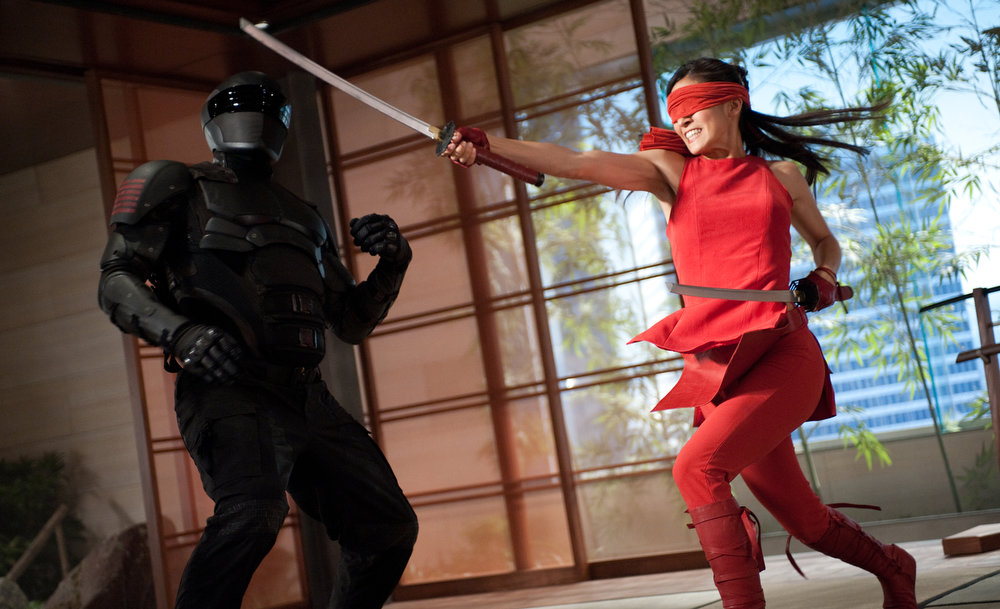 Description of . Left to right: Ray Park plays Snake Eyes and Elodie Yung plays Jinx in G.I. JOE: RETALIATION, from Paramount Pictures, MGM, and Skydance Productions. (Jaimie Trueblood/Paramount Pictures)