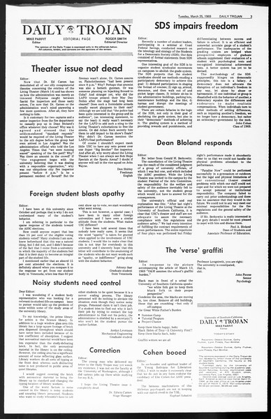 Daily Trojan, Vol. 60, No. 97, March 25, 1969