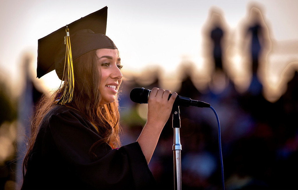 . Graduate Ana Mejia delivers her speech during the Northview High graduation ceremony at Covina District Field June 11, 2014.   (Staff photo by Leo Jarzomb/San Gabriel Valley Tribune)