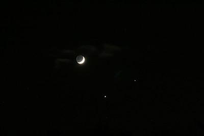 Moon, Jupiter, Venus conjunction Dec 1 2008