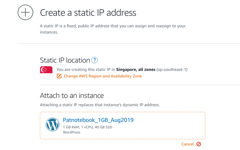 Creating a new Static IP