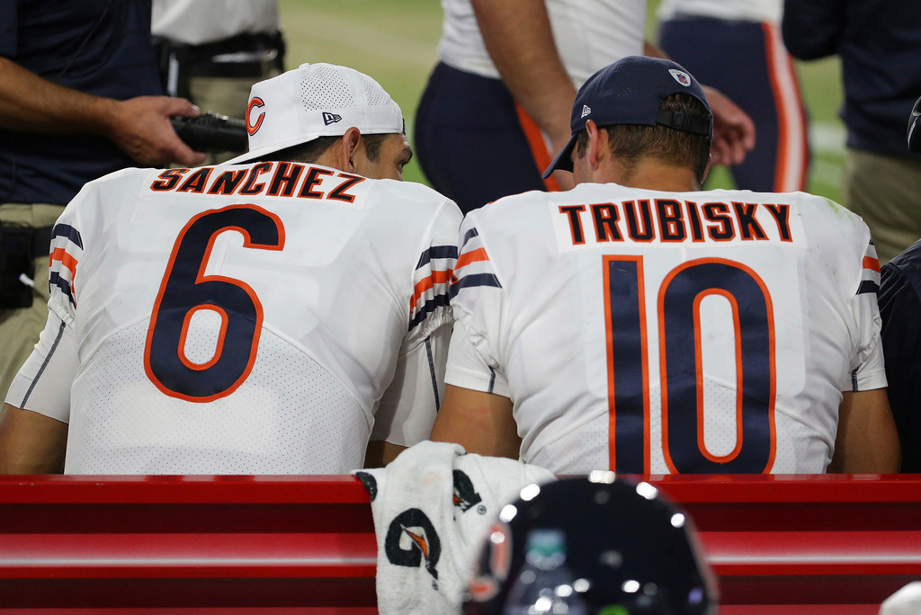 . Chicago Bears quarterback Mark Sanchez (6) and Chicago Bears quarterback Mitchell Trubisky (10) sit on the bench during the second half of a preseason NFL football game against the Arizona Cardinals, Saturday, Aug. 19, 2017, in Glendale, Ariz. (AP Photo/Ralph Freso)