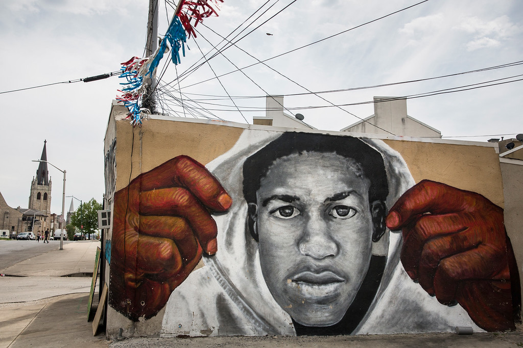 . BALTIMORE, MD - APRIL 30:  A mural of Trayvon Martin is seen on the side of a building in the Sandtown neighborhood where Freddie Gray was arrested on April 30, 2015 in Baltimore, Maryland. Gray, 25, was arrested for possessing a switch blade knife April 12 outside the Gilmor Houses housing project on Baltimore\'s west side. According to his attorney, Gray died a week later in the hospital from a severe spinal cord injury he received while in police custody.  (Photo by Andrew Burton/Getty Images)