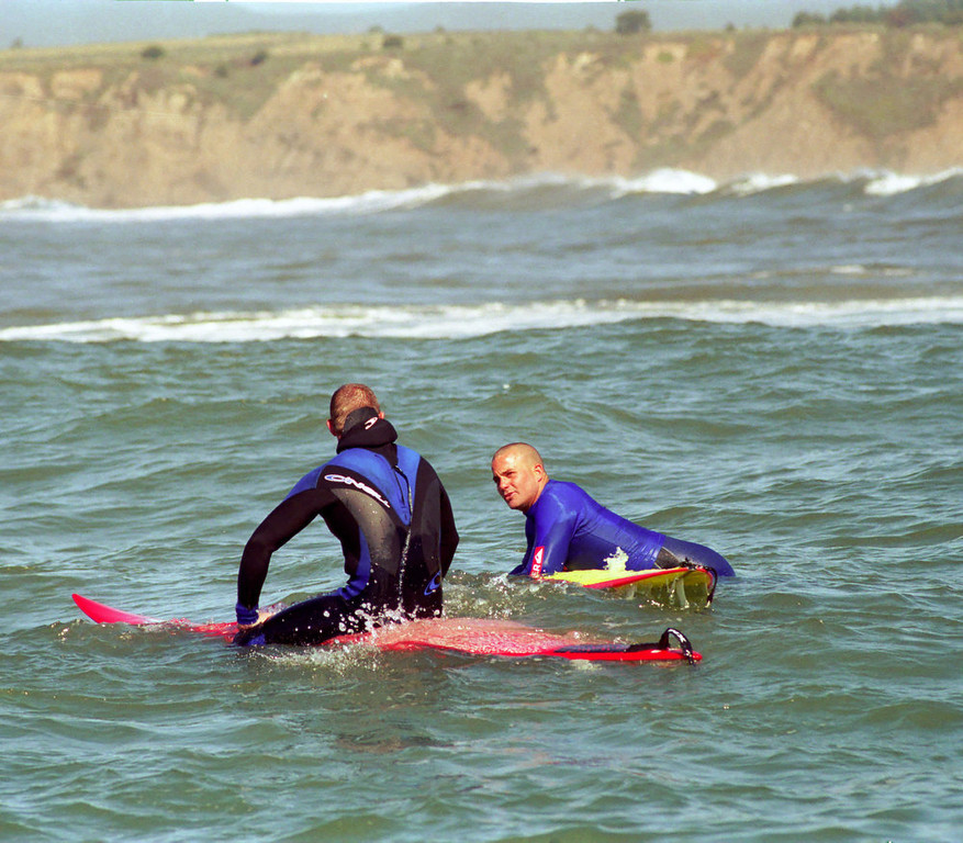 . Jay Moriarity waits for his heat to begin in the 2000 Mavericks contest.  (Dan Coyro/Sentinel)