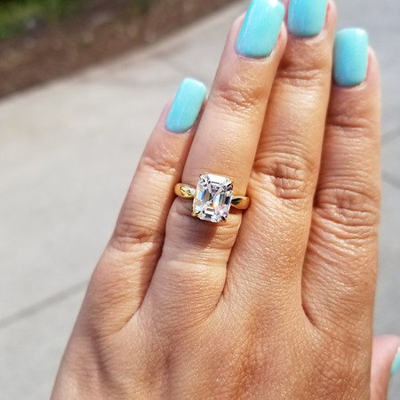 10 x 8mm Vintage Emerald Cut Moissanite in Stuller Solitaire