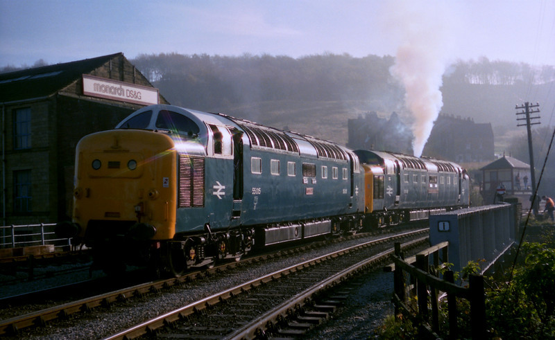 55015 and 55016 at Keighley. 06.11.88