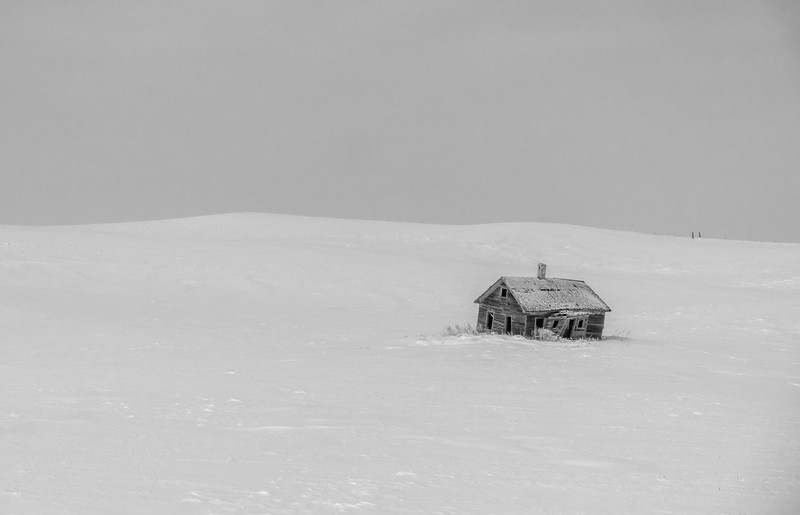 South Dakota Abandoned Cabin In Snow