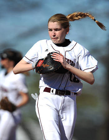 4/24/2019 Mike Orazzi | Staff Bristol Central's Kayla St. Onge (16) during Wednesday's softball with Simsbury in Bristol.