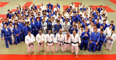 2013 Tonbridge Judo Training Camp 131220B7560: The teams assemble for a picture before lunch with the six coaches at the front with Russian coach ....