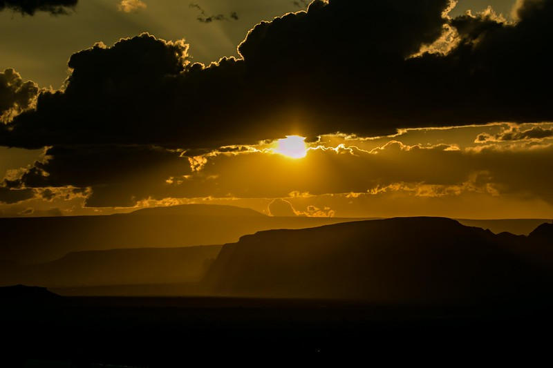 Cloud-limned light at sunset, Monument Valley