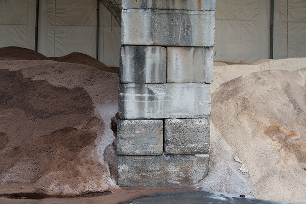 02/011/19 Wesley Bunnell | Staff A stone pillar separates sand, L, and salt stockpiles the city uses for winter storms.