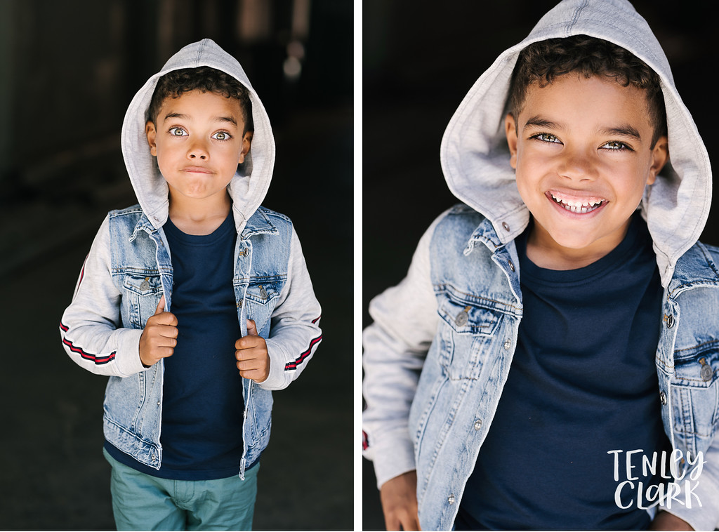 Bay Area playful, editorial kids model headshot portfolio session in Palo Alto by Tenley Clark Photography