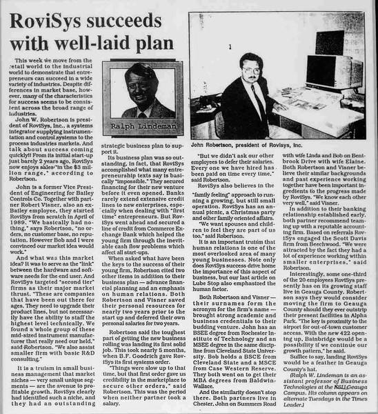 Article on RoviSys, Summer 1991