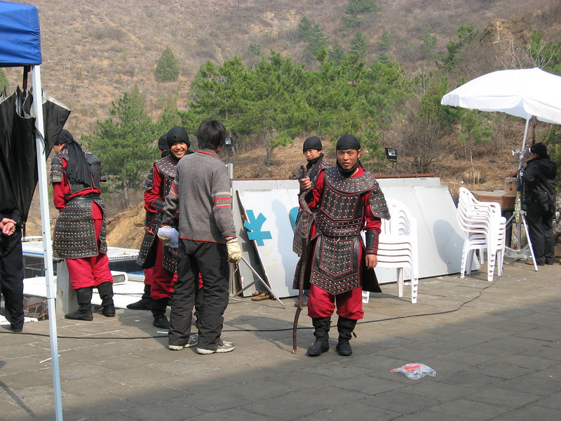 We saw three hikers and three angry peasants over the 11 km hike.  Then we arrived at Jinshanling to find that a film production was in process.  And Olivia Newton-John was scheduled to arrive the next day.  Popular place...