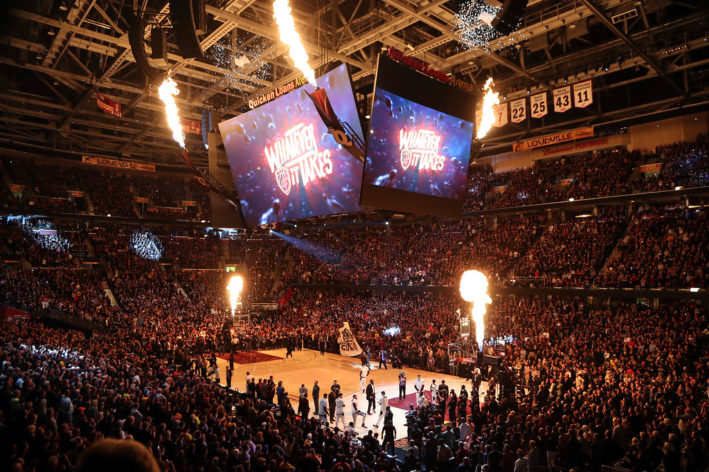 . The Golden State Warriors and Cleveland Cavaliers are introduced before Game 3 of basketball\'s NBA Finals, Wednesday, June 6, 2018, in Cleveland. (AP Photo/Carlos Osorio)