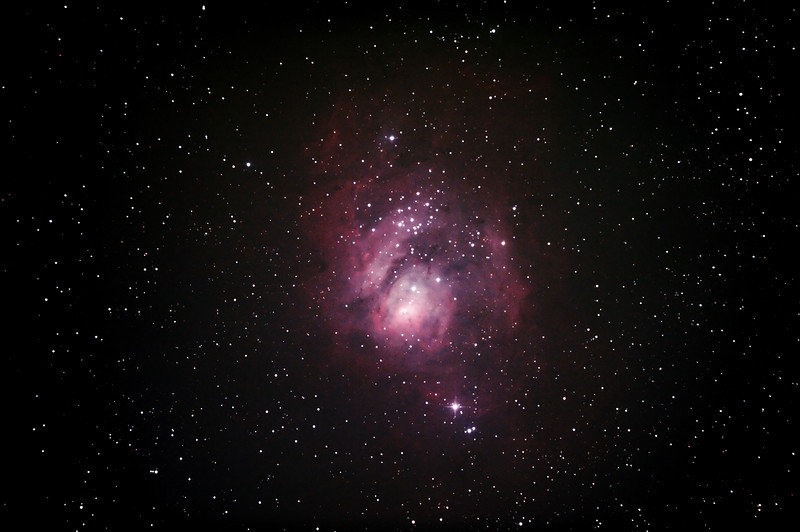 Messier M8 - NGC6523 & NGC6530 - Lagoon Nebula and Cluster - 5/10/2013 (Processed stack)