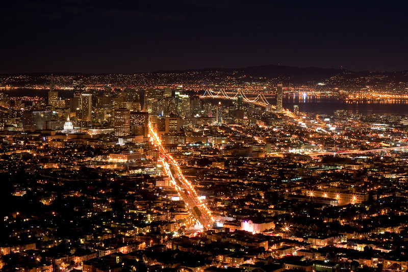 San Francisco city lights showing Market Street and Bay Bridge