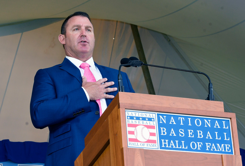 . National Baseball Hall of Fame inductee Jim Thome speaks during an induction ceremony at the Clark Sports Center on Sunday, July 29, 2018, in Cooperstown, N.Y. (AP Photo/Hans Pennink)