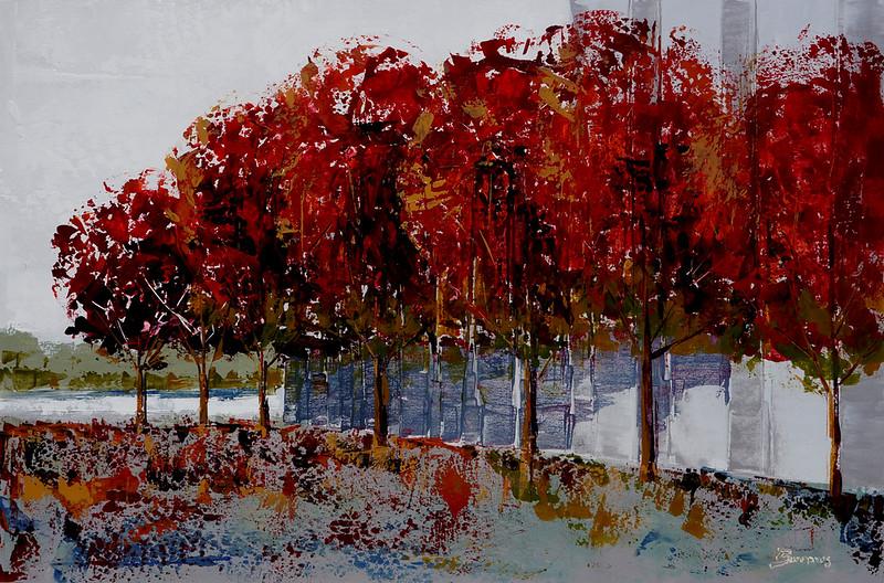 "Fall at Soka Commons-Burrows, apx 38""x50"