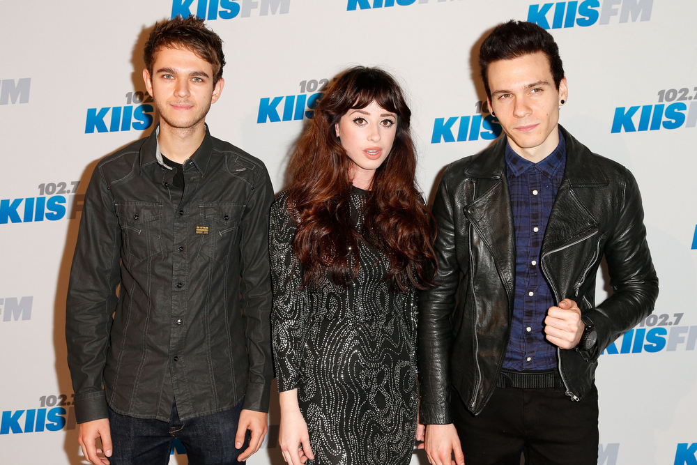 . DJ Zedd, singer Louisa Rose Allen aka Foxes, and singer Matthew Koma attend KIIS FM\'s 2012 Jingle Ball at Nokia Theatre L.A. Live on December 3, 2012 in Los Angeles, California.  (Photo by Imeh Akpanudosen/Getty Images)