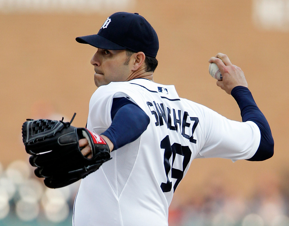 . Detroit Tigers pitcher Anibal Sanchez delivers against the Chicago White Sox during the first inning of a baseball game Tuesday, July 29, 2014, in Detroit. (AP Photo/Duane Burleson)