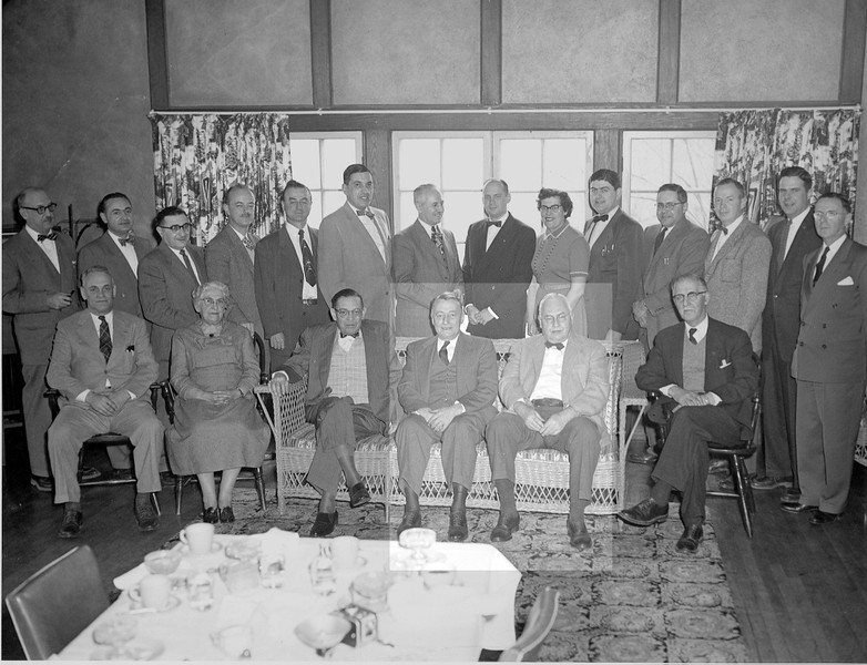 The staff at Harrington Memorial Hospital, Southbridge MA. Highlighted are left, James T. Lacey MD and Richard Dresser MD radiologist and family friend.