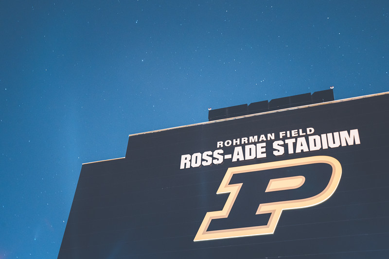 The Neowise comet over Ross Ade Stadium on the campus of Purdue University