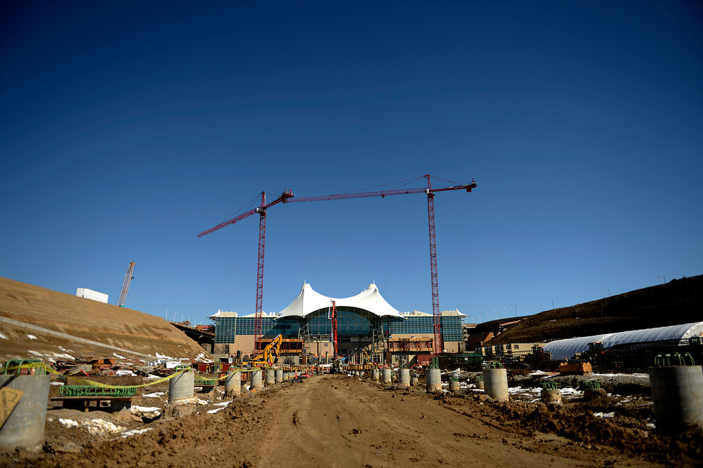 . The Denver International Airport South Terminal Redevelopment Program is now starting to build vertical as RTD station and the Westin Hotel and conference center is beginning to take shape. March 27, 2013 Denver, Colorado. (Photo By Joe Amon/The Denver Post)