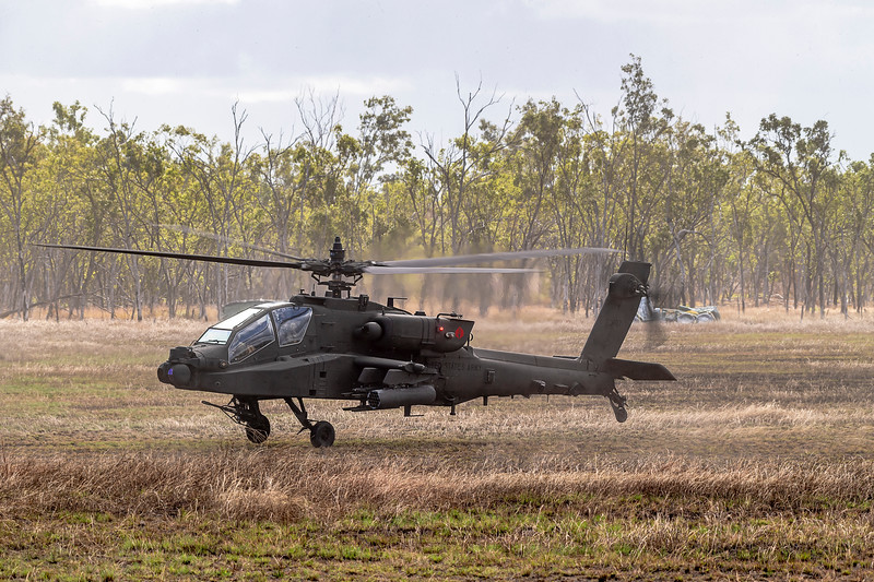 Exercise Talisman Saber 2019.  USAF AH-64E Apache conducts a simulated attack.