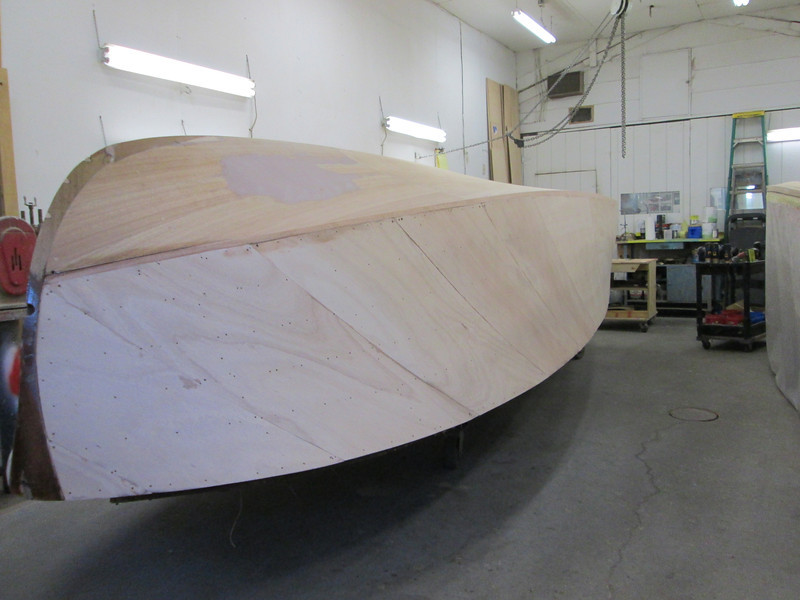 Front view of starboard side faired and sanded.