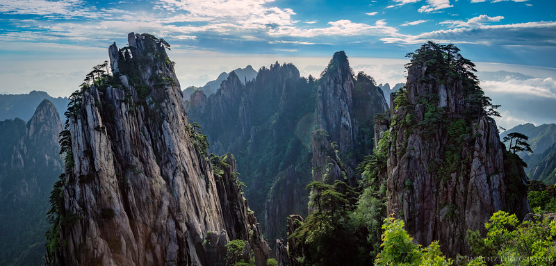 Early morning view of some of the countless limestone spires of Huangshan (Yellow Mountain), China.