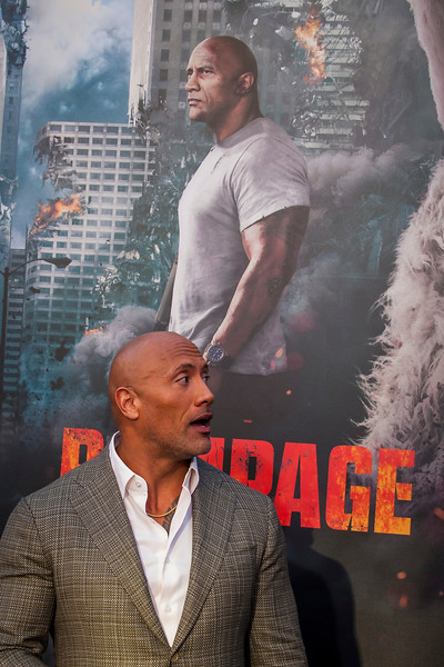 LOS ANGELES, CA - APRIL 04: Dwayne Johnson arrives at the Premiere Of Warner Bros. Pictures' 'Rampage' at Microsoft Theater on Wednesday April 4, 2018 in Los Angeles, California. (Photo by Tom Sorensen/Moovieboy Pictures)