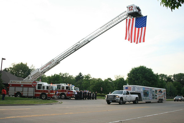 """ THE WALL "" AMERICAN VETERANS TRAVELING TRIBUTE FIRE DEPARTMENT SALUTE AS THE WALL DRIVES INTO TOWN"