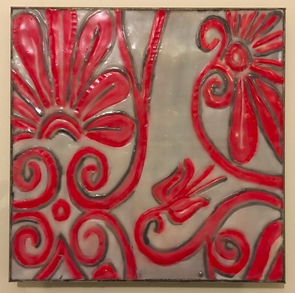 "Encaustic on cradled wood panel. 12"" x 12"""