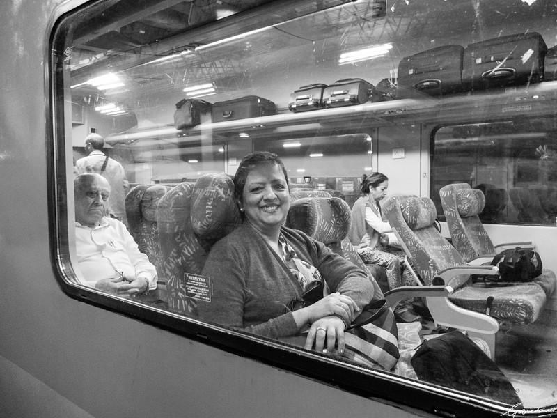 Lakshmi on board the Shatabdi