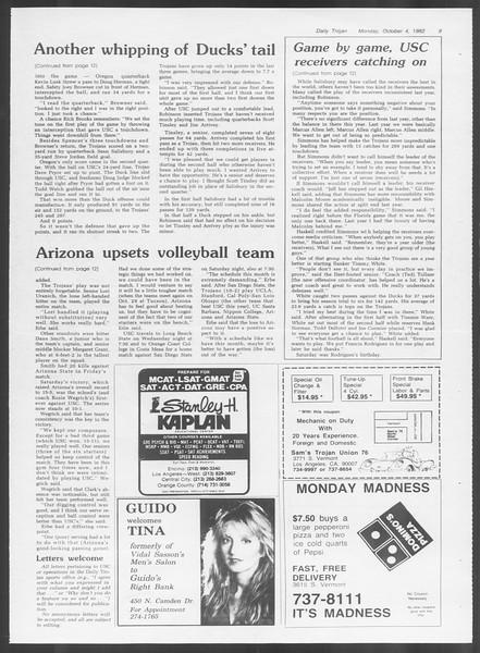 Daily Trojan, Vol. 92, No. 20, October 04, 1982