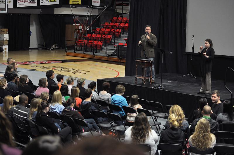 Celebration Week speaker, Carl Cartee, begins the week in Dimensions Tuesday morning, January 29, 2013.